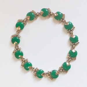 Vintage Green Gold Choker Costume Jewelry